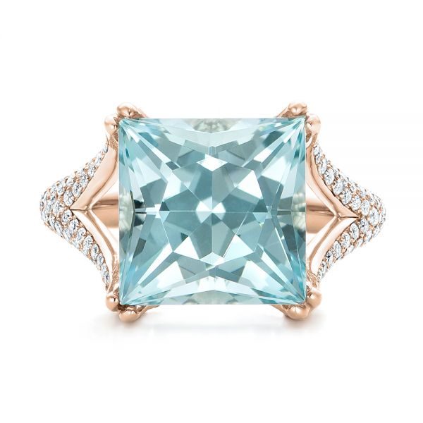 18k Rose Gold 18k Rose Gold Custom Aquamarine And Pave Diamond Ring - Top View -  101982