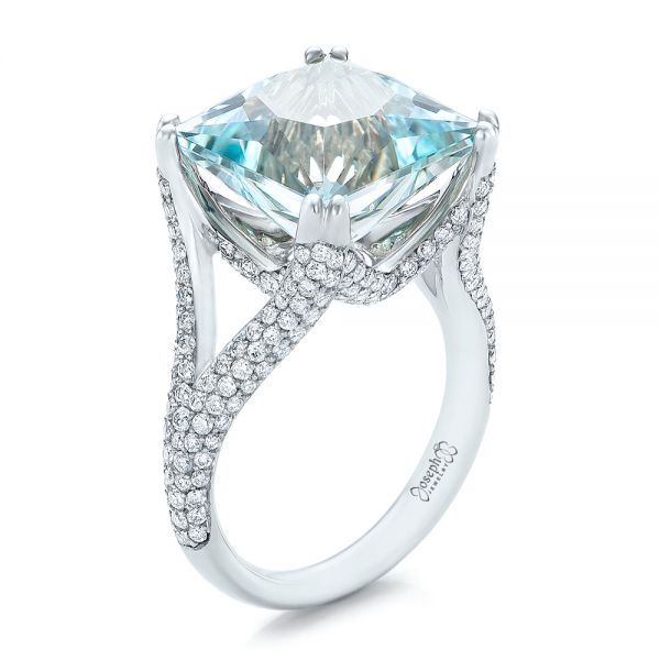 Custom Aquamarine and Pave Diamond Ring - Image