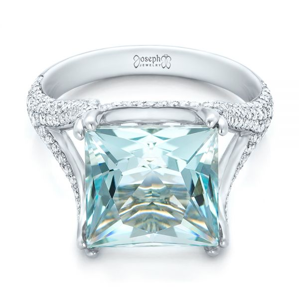 18k White Gold Custom Aquamarine And Pave Diamond Ring - Flat View -