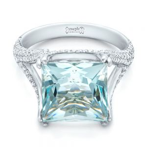 Custom Aquamarine and Pave Diamond Ring