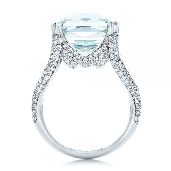 18k White Gold Custom Aquamarine And Pave Diamond Ring - Front View -