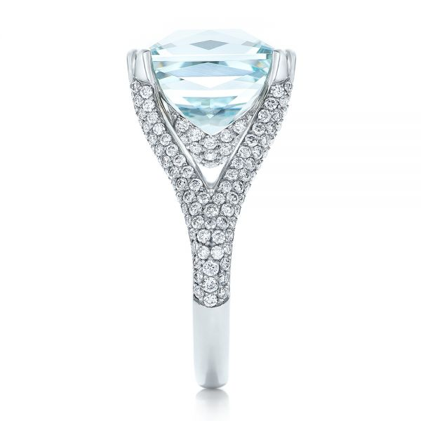 18k White Gold Custom Aquamarine And Pave Diamond Ring - Side View -