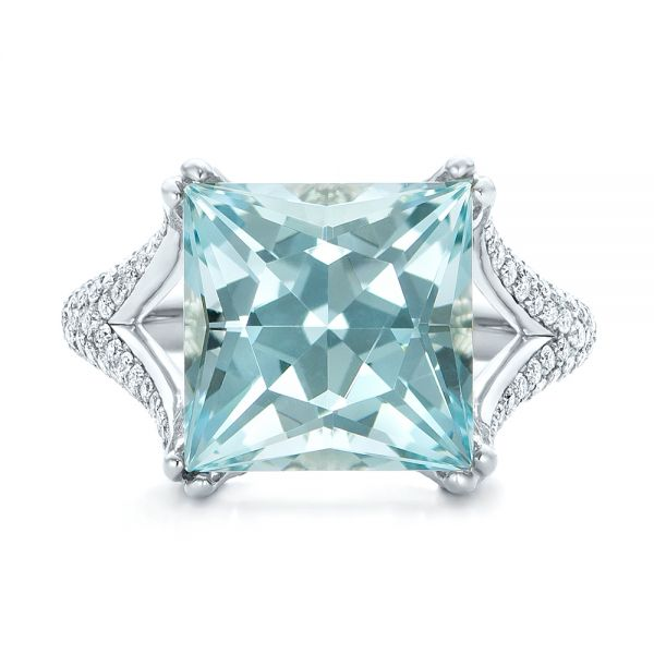 18k White Gold Custom Aquamarine And Pave Diamond Ring - Top View -