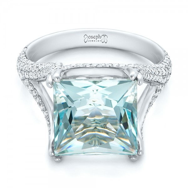 Custom Aquamarine and Pave Diamond Ring - Flat View -  101982 - Thumbnail