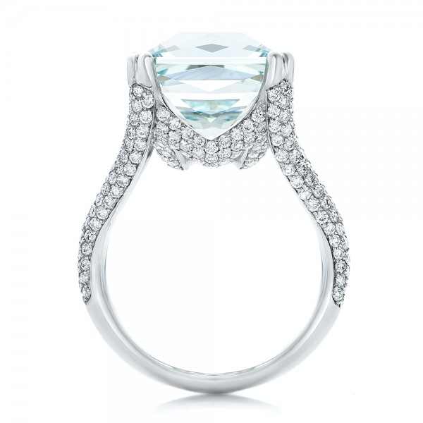 Custom Aquamarine and Pave Diamond Ring - Front View -  101982 - Thumbnail