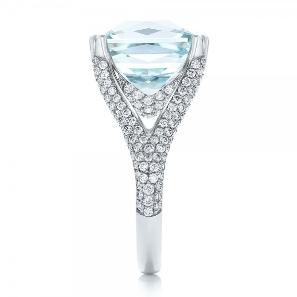 Custom Aquamarine and Pave Diamond Ring - Side View -  101982 - Thumbnail