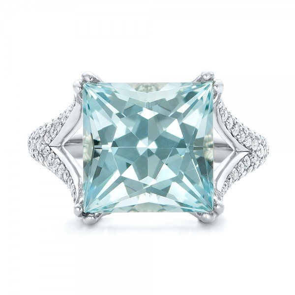 Custom Aquamarine and Pave Diamond Ring - Top View -  101982 - Thumbnail