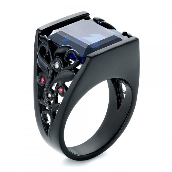 Custom Black Ceramic Plated Sapphire, Ruby and Diamond Fashion Ring