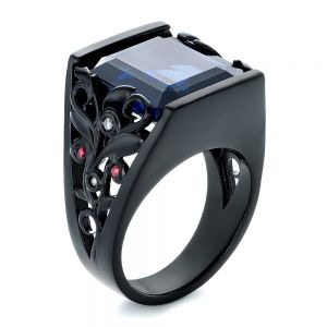 Custom Black Ceramic Plated Sapphire, Ruby and Diamond Fashion Ring - Image