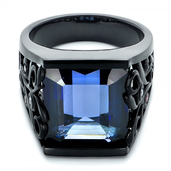 Custom Black Ceramic Plated Sapphire, Ruby and Diamond Fashion Ring - Laying View