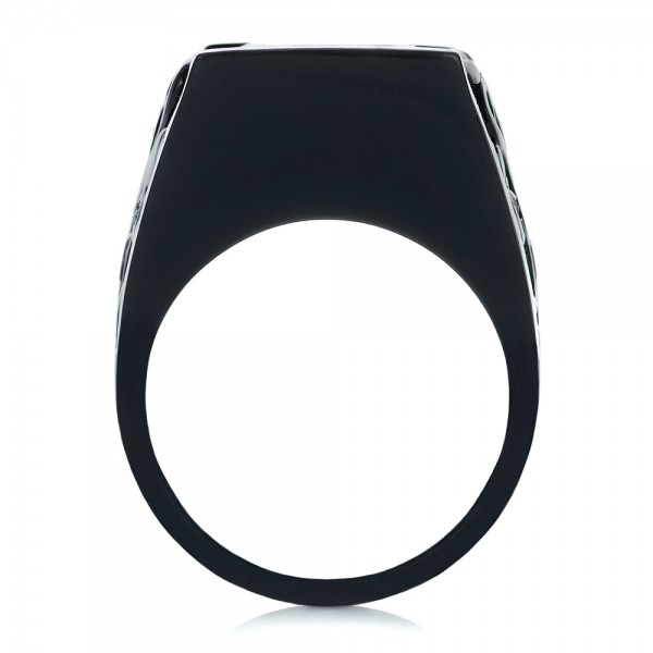 Custom Black Ceramic Plated Sapphire, Ruby and Diamond Fashion Ring - Finger Through View