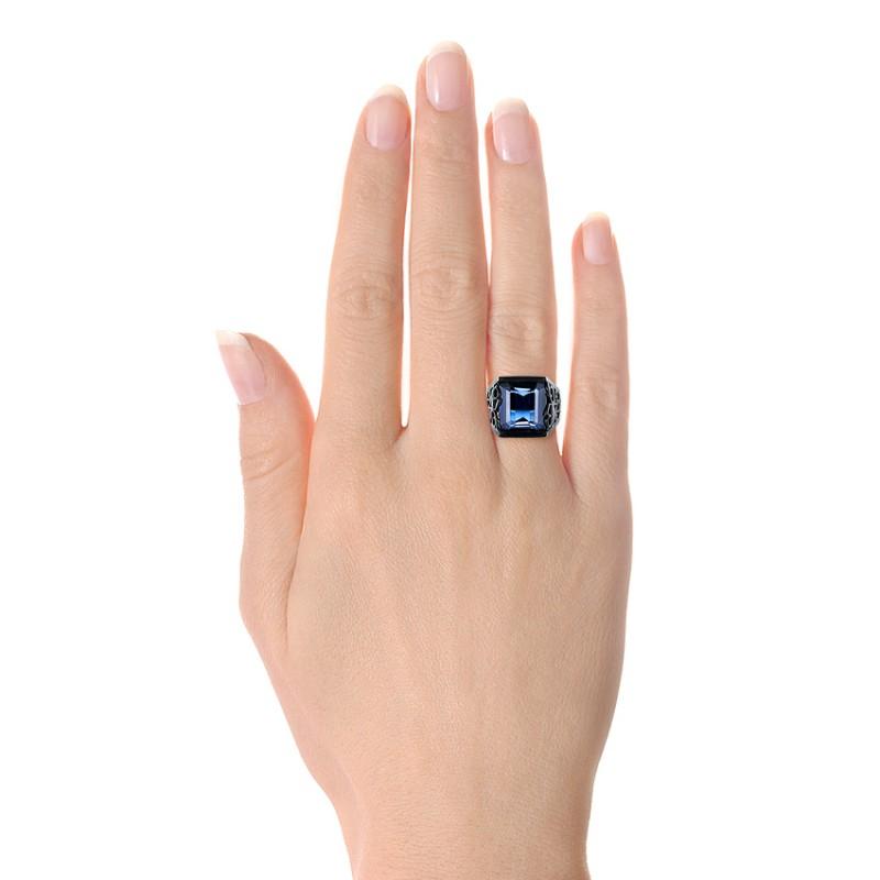 Custom Black Ceramic Plated Sapphire, Ruby and Diamond Fashion Ring - Model View