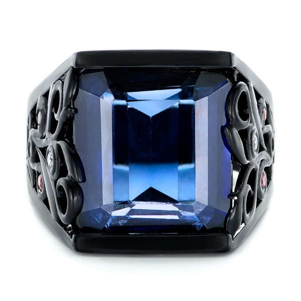 Custom Black Ceramic Plated Sapphire, Ruby and Diamond Fashion Ring - Top View