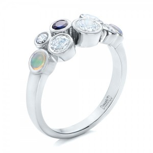 Custom Blue Sapphire, Opal and Diamond Ring