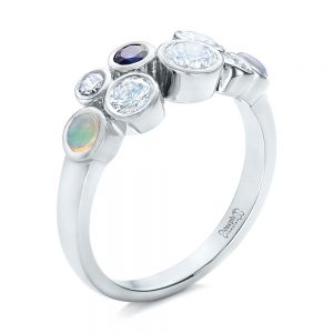 Custom Blue Sapphire, Opal and Diamond Ring - Image
