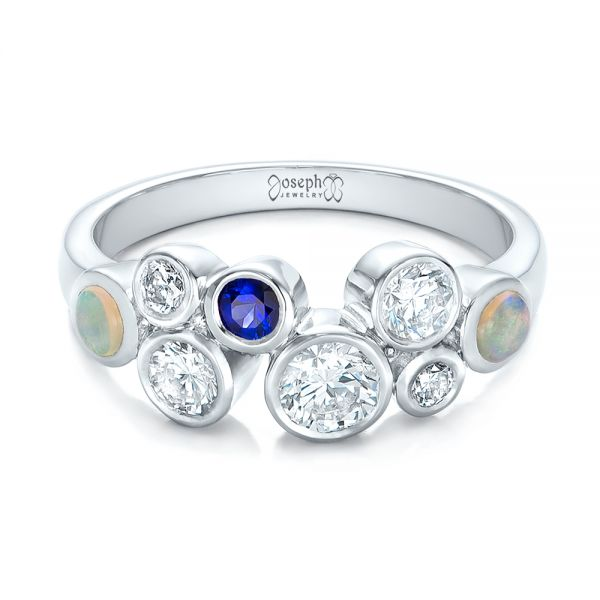 Platinum Custom Blue Sapphire Opal And Diamond Ring - Flat View -