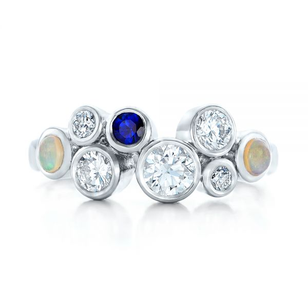 Platinum Custom Blue Sapphire Opal And Diamond Ring - Top View -