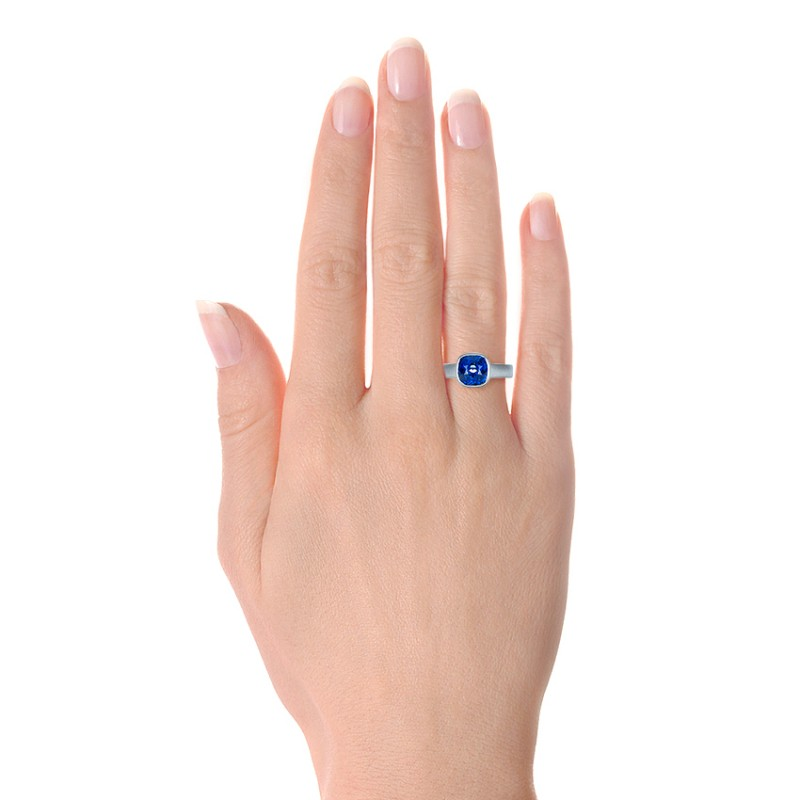 Custom Blue Sapphire Solitaire Ring - Hand View -  1266 - Thumbnail