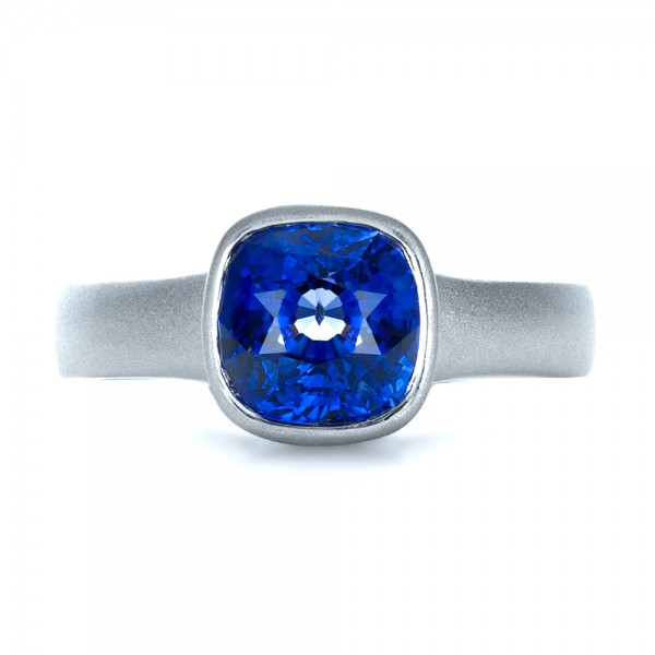 Custom Blue Sapphire Solitaire Ring - Top View -  1266 - Thumbnail