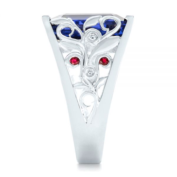 18k White Gold 18k White Gold Custom Blue Sapphire Ruby And Diamond Fashion Ring - Side View -  102596