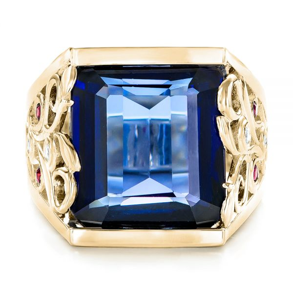 14k Yellow Gold 14k Yellow Gold Custom Blue Sapphire Ruby And Diamond Fashion Ring - Top View -  102596