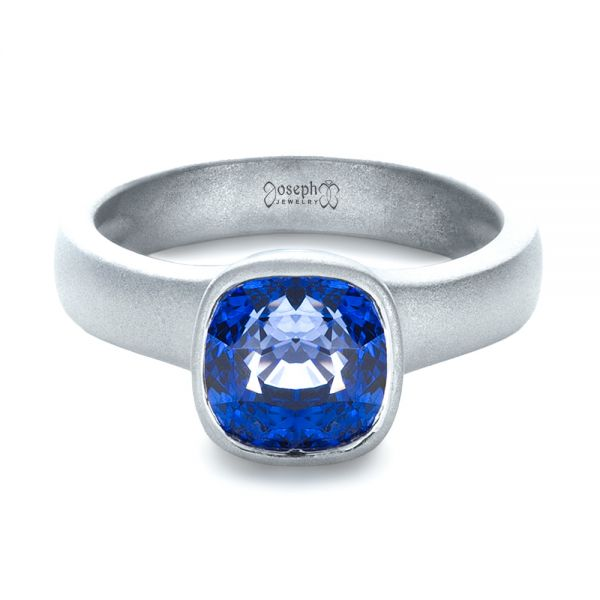 14k White Gold Custom Blue Sapphire Solitaire Ring - Flat View -  1266