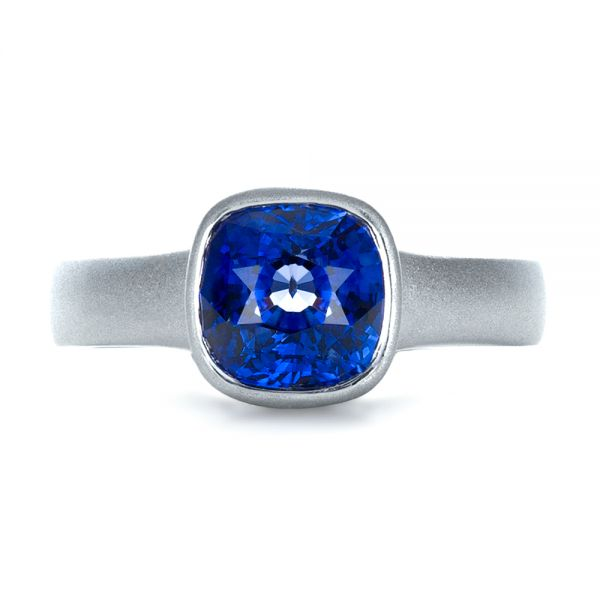 14k White Gold Custom Blue Sapphire Solitaire Ring - Top View -  1266