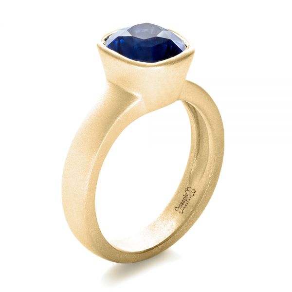 14k Yellow Gold 14k Yellow Gold Custom Blue Sapphire Solitaire Ring - Three-Quarter View -  1266