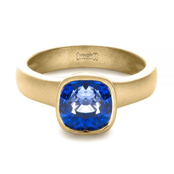 14k Yellow Gold 14k Yellow Gold Custom Blue Sapphire Solitaire Ring - Flat View -  1266