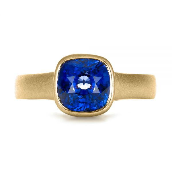 14k Yellow Gold 14k Yellow Gold Custom Blue Sapphire Solitaire Ring - Top View -  1266