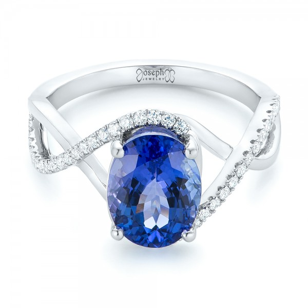 Custom Tanzanite and Diamond Fashion Ring - Laying View