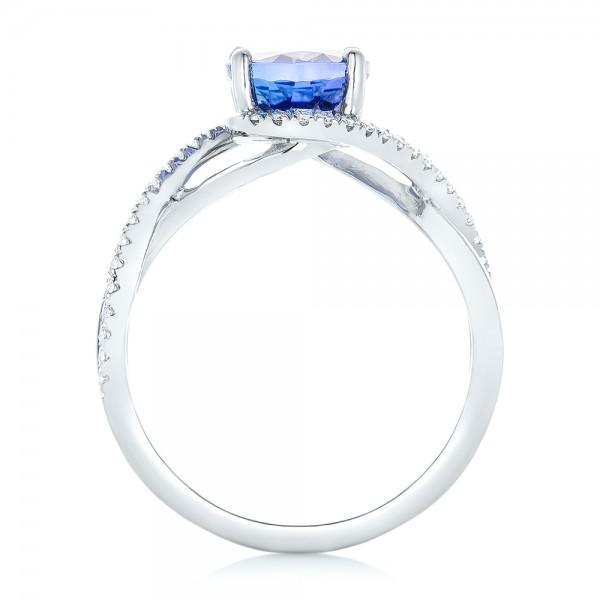 Custom Tanzanite and Diamond Fashion Ring - Finger Through View