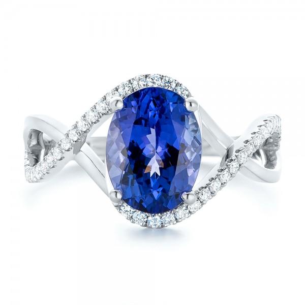 Custom Tanzanite and Diamond Fashion Ring - Top View