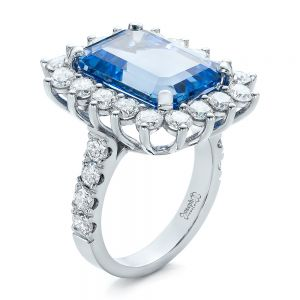 Custom Blue Spinel and Diamond Ring - Image
