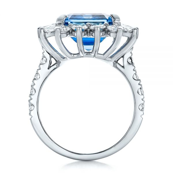 14k White Gold Custom Blue Spinel And Diamond Ring - Front View -  102126