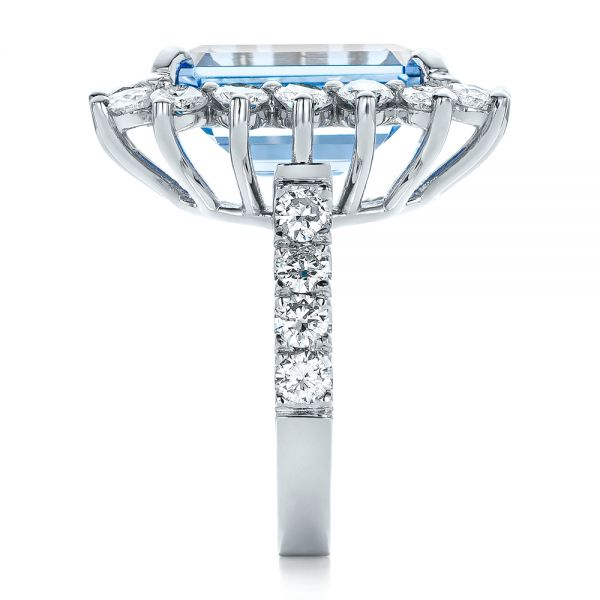 14k White Gold Custom Blue Spinel And Diamond Ring - Side View -  102126