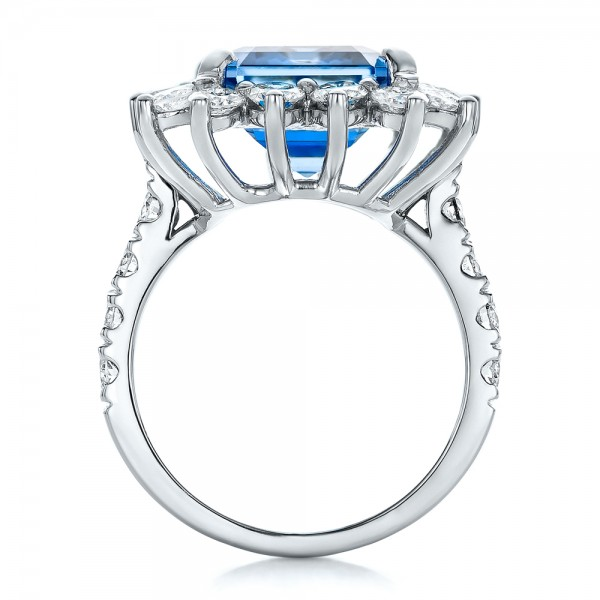 Custom Blue Spinel and Diamond Ring - Finger Through View