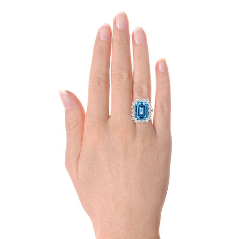 Custom Blue Spinel and Diamond Ring - Model View