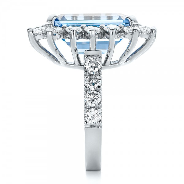 Custom Blue Spinel and Diamond Ring - Side View