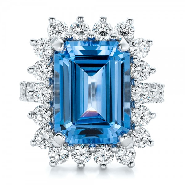 Custom Blue Spinel and Diamond Ring - Top View