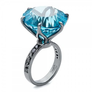 Custom Blue Topaz and Black Diamond Fashion Ring