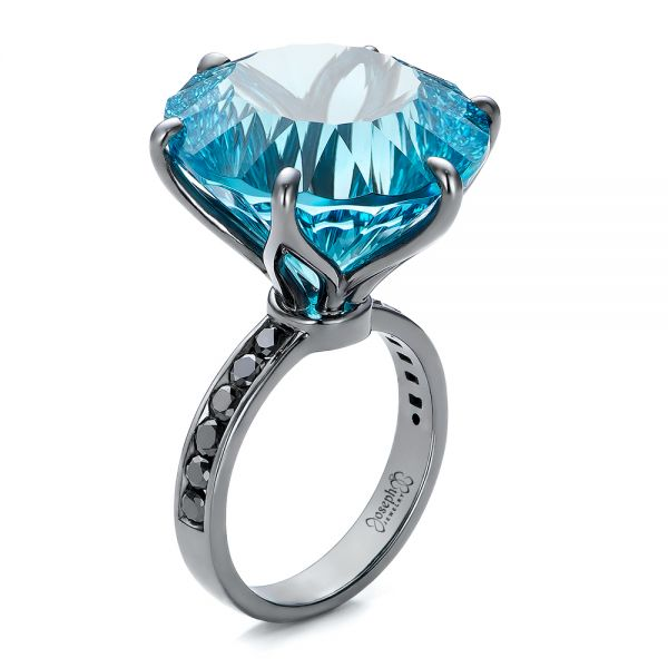 Custom Blue Topaz and Black Diamond Fashion Ring - Image