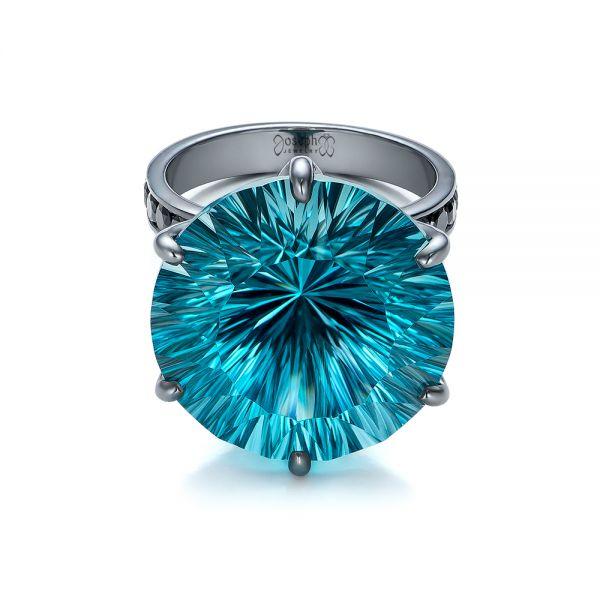 Custom Blue Topaz And Black Diamond Fashion Ring 101530