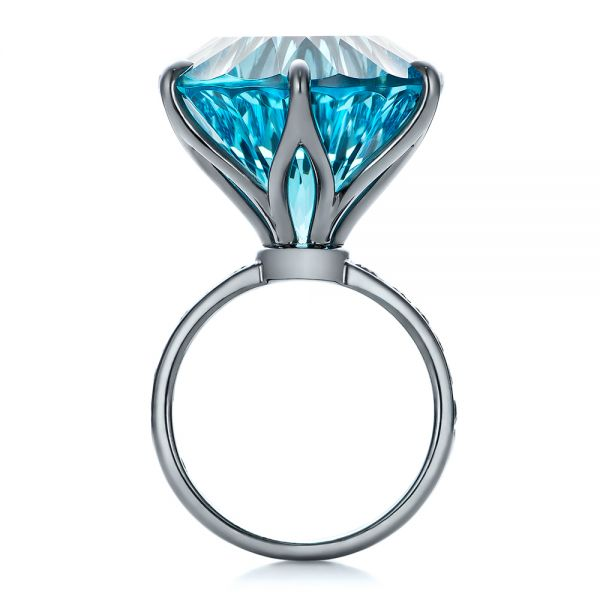 Custom Blue Topaz and Black Diamond Fashion Ring - Front View -  101530 - Thumbnail