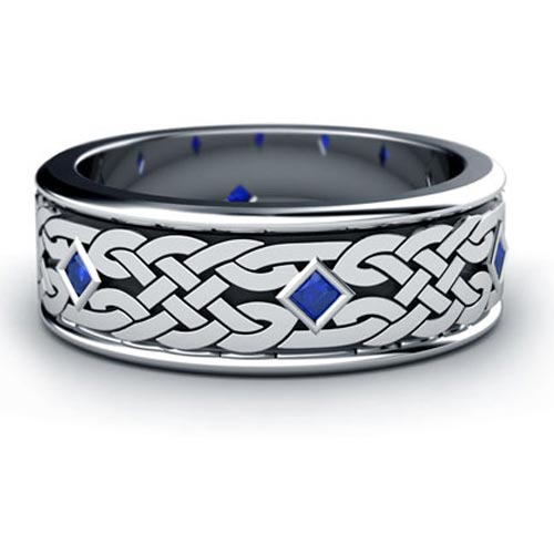Custom Celtic Knot and Blue Sapphire Unisex Ring