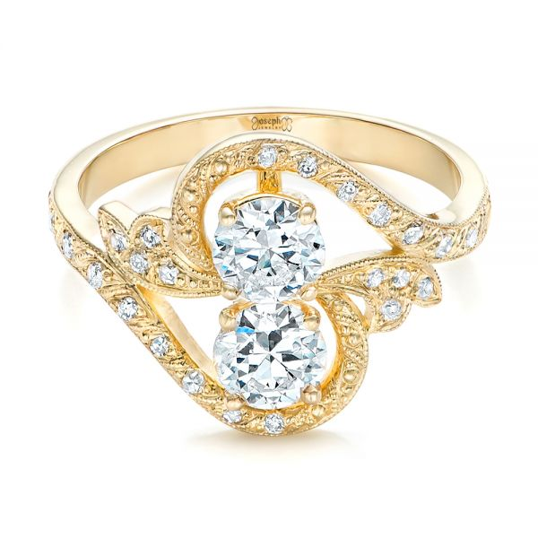 14k Yellow Gold Custom Diamond Arts And Crafts Style Fashion Ring - Flat View -  102478
