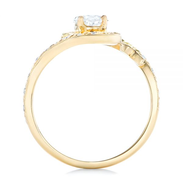 14k Yellow Gold Custom Diamond Arts And Crafts Style Fashion Ring - Front View -  102478