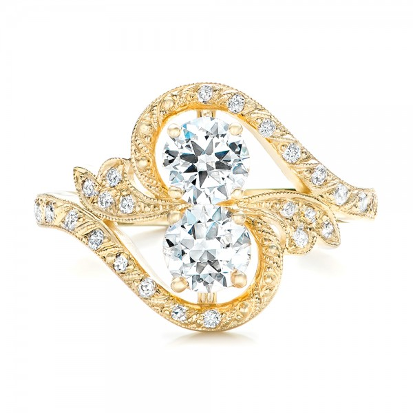 Custom Diamond Arts and Crafts Style Fashion Ring - Top View
