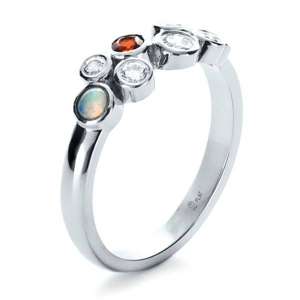 Platinum Custom Diamond And Opal Ring - Three-Quarter View -  1157