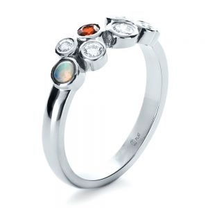 Custom Diamond and Opal Ring - Image
